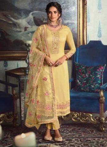 Beige Tussar Silk Party Wear Swarovski Work Straight Suit