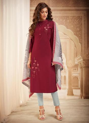 Maroon Muslin Casual Wear Embroidery Work Readymade Dress