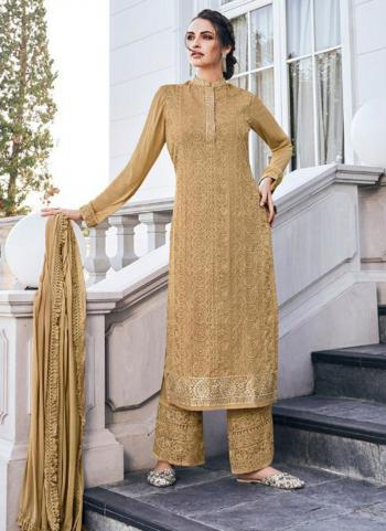 Beige Georgette Embroidery Work Party Wear Readymade Palazzo Suit