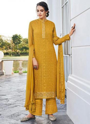 Yellow Georgette Embroidery Work Party Wear Readymade Palazzo Suit
