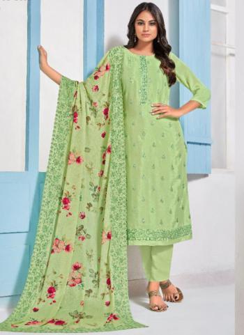 Light Green Chinnon Embroidery Work Festival Wear Salwar Suit