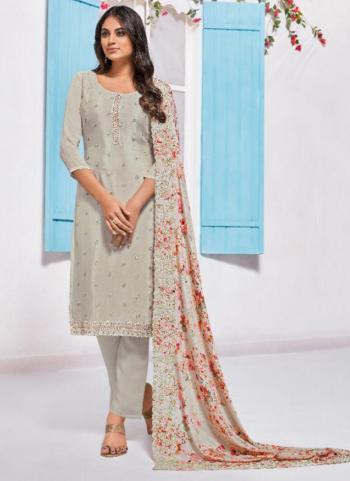 Light Grey Chinnon Embroidery Work Festival Wear Salwar Suit