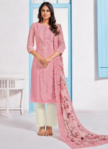 Pink Chinnon Embroidery Work Festival Wear Salwar Suit