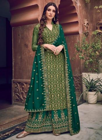 Green Pure Dola Jacquard Embroidery Work Wedding Wear Palazzo Suit