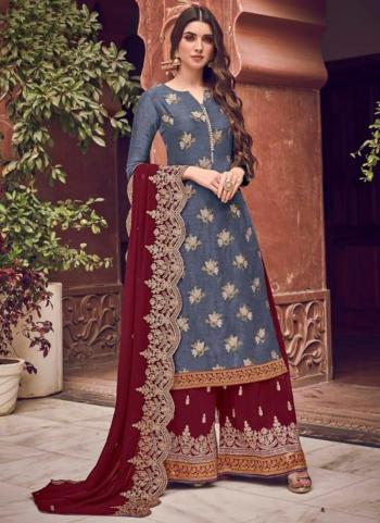 Grey Dola Jacquard Embroidery Work Wedding Wear Palazzo Suit