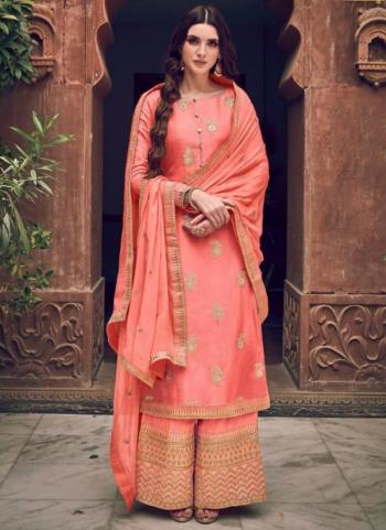 Light Pink Pure Dola Jacquard Embroidery Work Wedding Wear Palazzo Suit