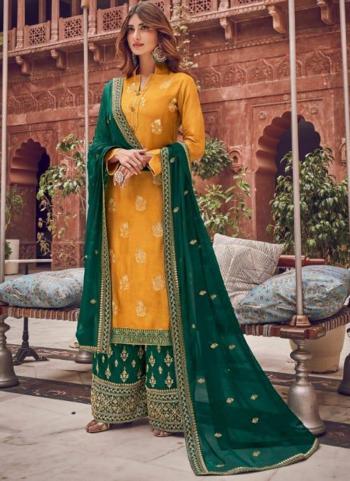 Mustard Pure Dola Jacquard Embroidery Work Wedding Wear Palazzo Suit