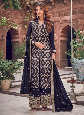 Navy Blue Dola Pure Jacquard Embroidery Work Wedding Wear Palazzo Suit