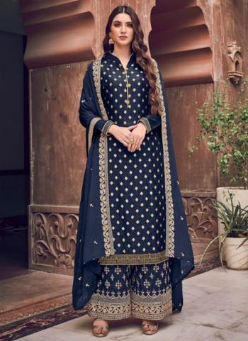 Navy Blue Pure Dola Jacquard Embroidery Work Wedding Wear Palazzo Suit