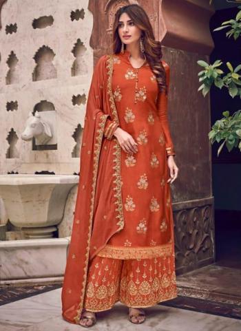 Orange Pure Dola Jacquard Embroidery Work Wedding Wear Palazzo Suit