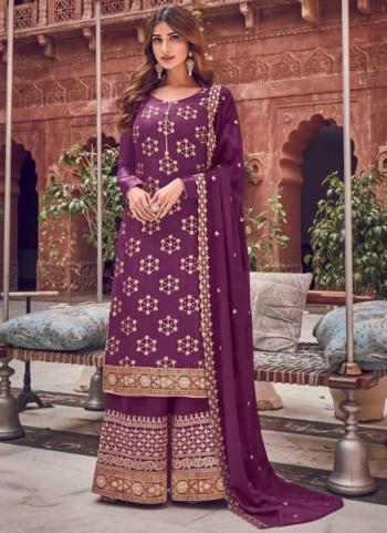 Purple Pure Dola Jacquard Embroidery Work Wedding Wear Palazzo Suit