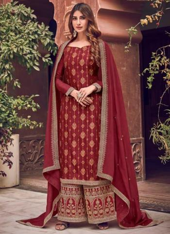 Red Pure Dola Jacquard Embroidery Work Wedding Wear Palazzo Suit