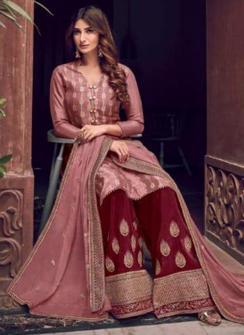 Rose Gold Pure Dola Jacquard Embroidery Work Wedding Wear Palazzo Suit