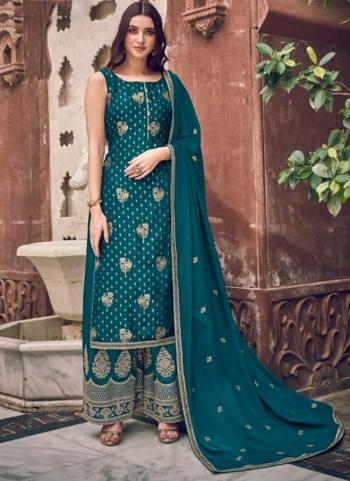 Sky Blue Pure Dola Jacquard Embroidery Work Wedding Wear Palazzo Suit