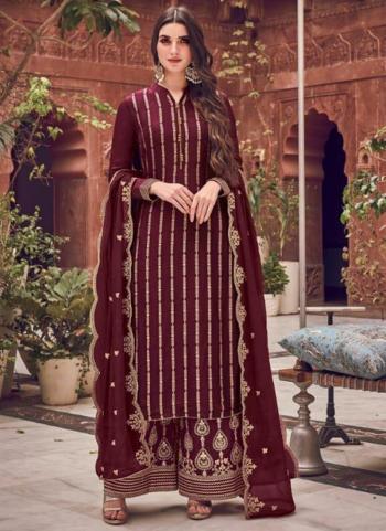 Wine Pure Dola Jacquard Embroidery Work Wedding Wear Palazzo Suit