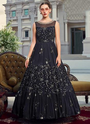 Navy Blue Chinnon Party Wear Hand Work Gown
