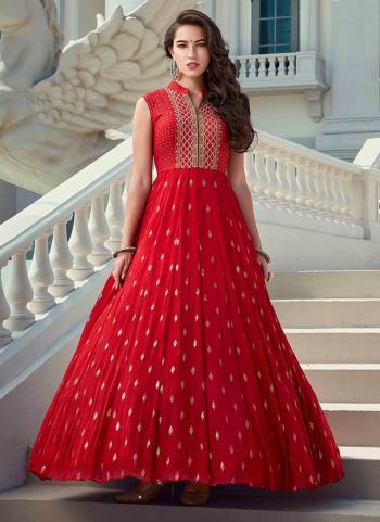 Red Faux Georgette Party Wear Hand Work Gown