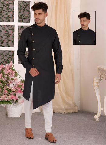 Black Pure Cotton Traditional Wear Hand Stitched Kurta