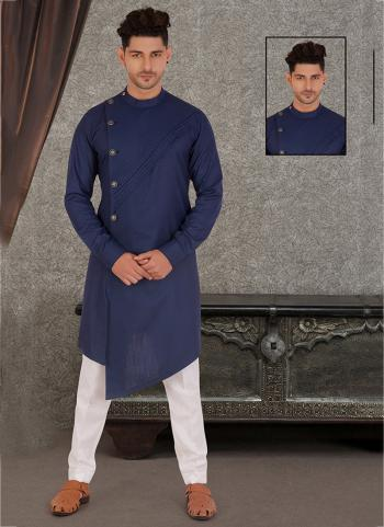 Blue Pure Cotton Traditional Wear Hand Stitched Kurta