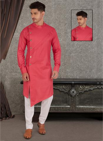 Dark Pink Pure Cotton Traditional Wear Hand Stitched Kurta
