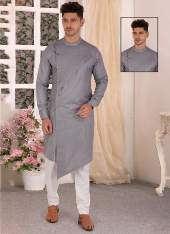 Grey Pure Cotton Traditional Wear Hand Stitched Kurta