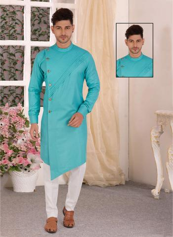 Sky Blue Pure Cotton Traditional Wear Hand Stitched Kurta
