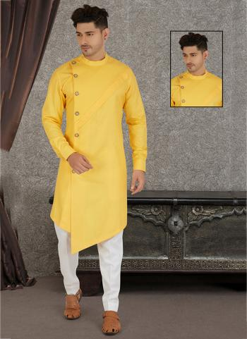 Yellow Pure Cotton Traditional Wear Hand Stitched Kurta