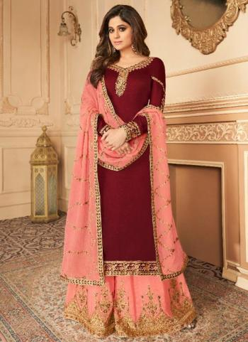 Maroon Silk Satin Party Wear Embroidery Work Palazzo Suit