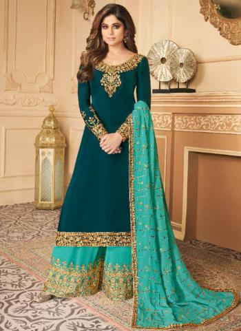 Rama Silk Satin Party Wear Embroidery Work Palazzo Suit
