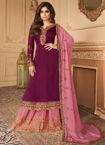 Violet Silk Satin Party Wear Embroidery Work Palazzo Suit