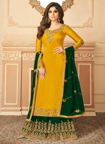 Yellow Silk Satin Party Wear Embroidery Work Palazzo Suit