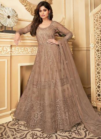Light Brown Net Wedding Wear Heavy Embroidery Work Anarkali Suit