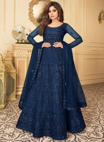 Navy Blue Net Wedding Wear Heavy Embroidery Work Anarkali Suit