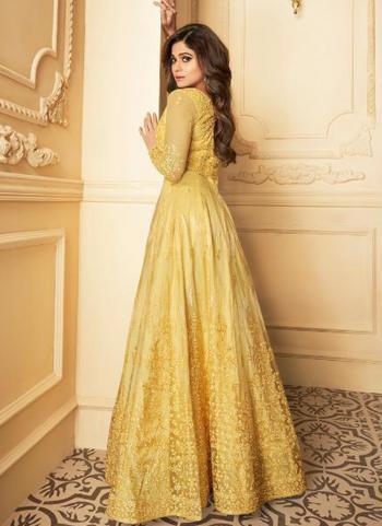 Yellow Net Wedding Wear Heavy Embroidery Work Anarkali Suit