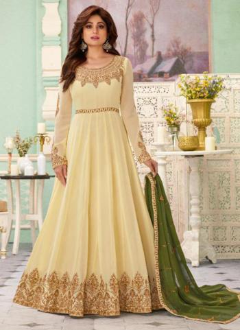 Cream Georgette Reception Wear Heavy Embroidery Work Anarkali Suit