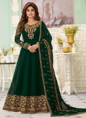 Dark Green Georgette Reception Wear Heavy Embroidery Work Anarkali Suit