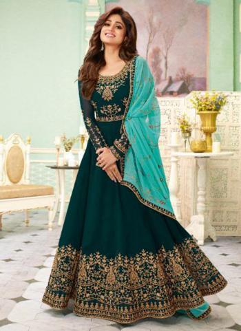 Rama Green Georgette Reception Wear Heavy Embroidery Work Anarkali Suit