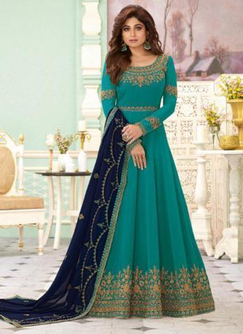 Sky Blue Georgette Reception Wear Heavy Embroidery Work Anarkali Suit
