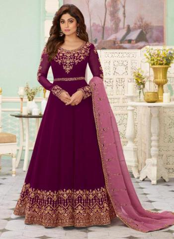 Violet Georgette Reception Wear Heavy Embroidery Work Anarkali Suit