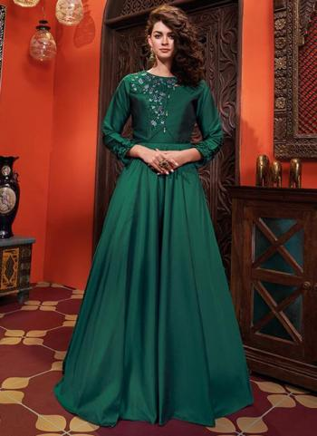 Green Silk Party Wear Embroidery Work Gown