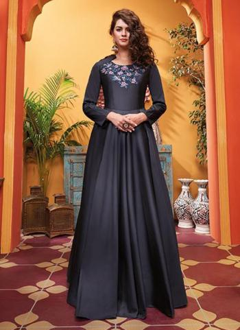 Grey Silk Party Wear Embroidery Work Gown