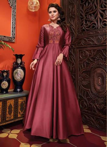 Pink Silk Party Wear Embroidery Work Gown
