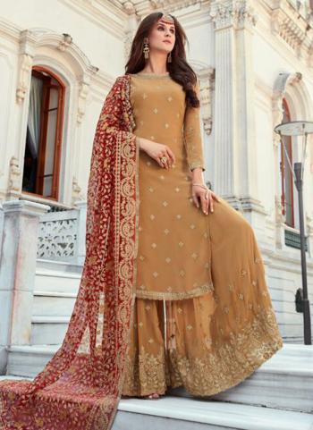 Golden Georgette Reception Wear Thread Work Sharara Suit