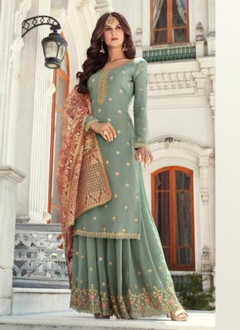 Green Georgette Reception Wear Thread Work Sharara Suit