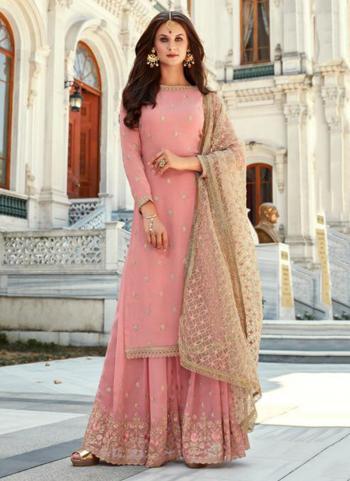 Pink Georgette Reception Wear Thread Work Sharara Suit