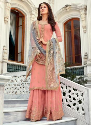 Pink Georgette Reception Wear Zari Work Sharara Suit
