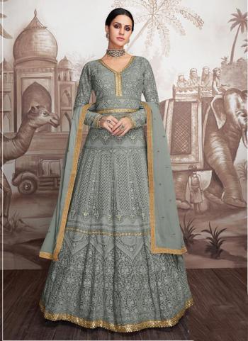 Grey Georgette Wedding Wear Embroidery Work Readymade Anarkali Suit