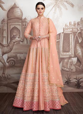 Peach Georgette Wedding Wear Embroidery Work Readymade Anarkali Suit