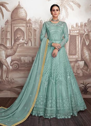 Sky Blue Georgette Wedding Wear Embroidery Work Readymade Anarkali Suit
