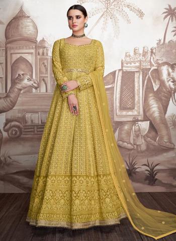 Yellow Georgette Wedding Wear Embroidery Work Readymade Anarkali Suit